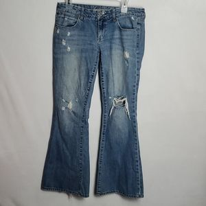 American Eagle Distressed Real Flare Jeans
